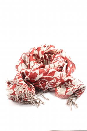 Loevenich Bufanda de flecos rojo-blanco puro estampado con diseño abstracto