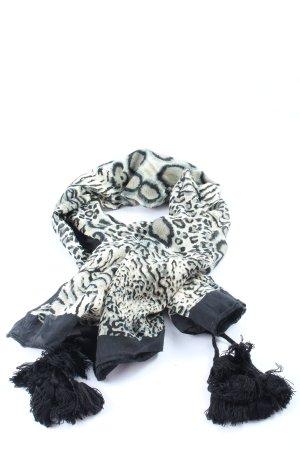 Loevenich Pañoleta blanco-negro estampado con diseño abstracto look casual