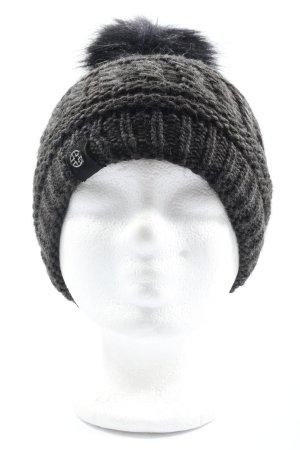 Loevenich Sombrero de punto negro punto trenzado look casual