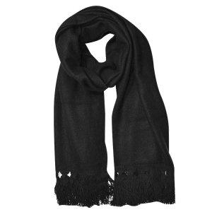 LOEWE Schal aus Kaschgora (Kaschmirwolle)  in Schwarz! Frensel aus Leder!