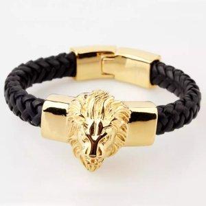 Löwenkopf Armband aus Leder und Chirurgenstahl ( Ganz neu)