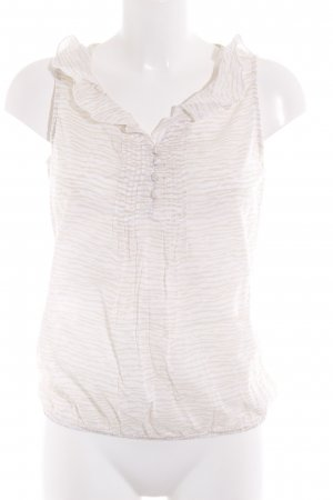 Loft Kurzarm-Bluse wollweiß-creme Streifenmuster schlichter Stil