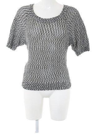 Loft Kurzarmpullover weiß-schwarz grafisches Muster Casual-Look