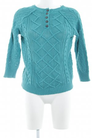 Loft Cable Sweater cadet blue cable stitch casual look