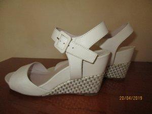 Logan Platform Sandals white leather