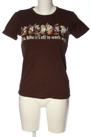 Logoshirt T-Shirt braun Motivdruck Casual-Look