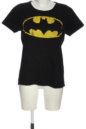 Logoshirt T-Shirt schwarz-blassgelb Motivdruck Casual-Look