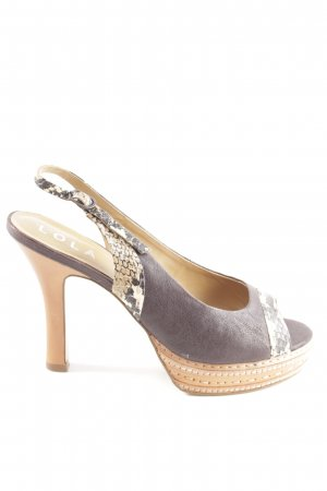 Lola cruz Slingback-Pumps braun-wollweiß Casual-Look