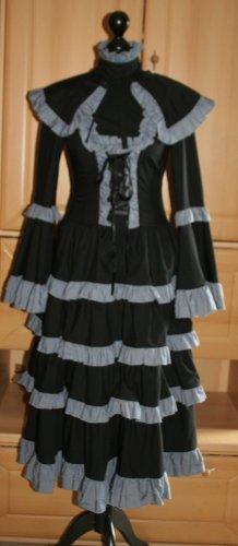 Lolita Cosplay Kleid empire Stil Visual Kei schwarz grau Gr. 36 /S