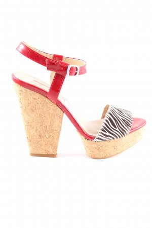 Lollipops High Heel Sandaletten rot-wollweiß Allover-Druck extravaganter Stil