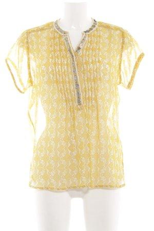 Lollys Laundry Kurzarm-Bluse blassgelb-weiß Allover-Druck Casual-Look