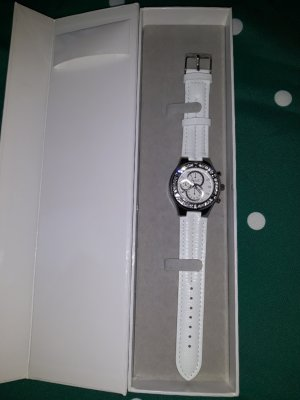 Watch With Leather Strap white-silver-colored