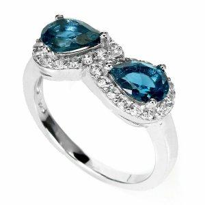 London Blue Topas 925 Sterling Silber Ring grosse 55
