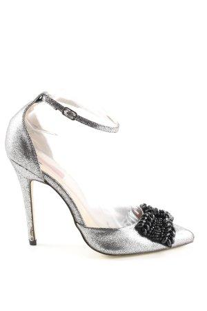 London Rebel Spitz-Pumps silberfarben-schwarz Elegant