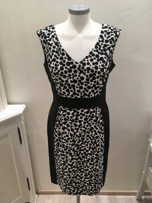 London Times Kleid Etuikleid schwarz weiß Polka Dots Punkte 38 M