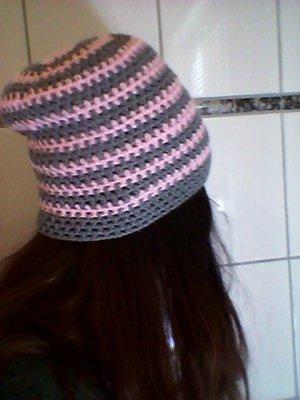 Berretto grigio-rosa