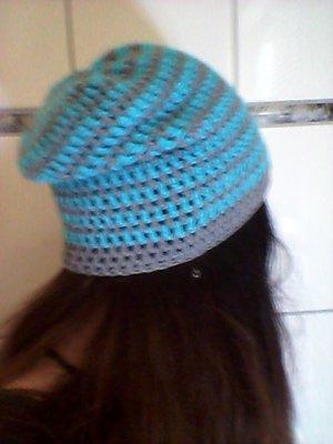 Beanie grey-light blue