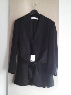 Long-Blazer mit Schleife in schwarz, Grösse S, oversize