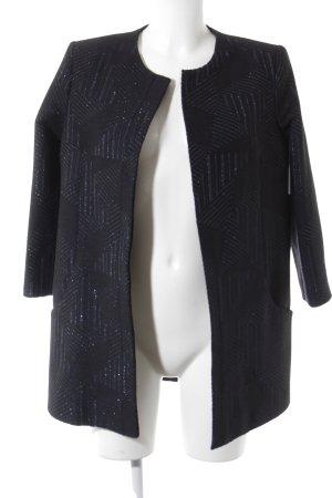 Long-Blazer schwarz-blau grafisches Muster Business-Look