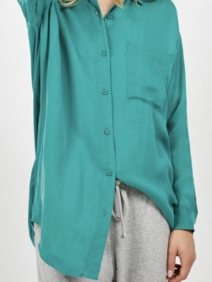 American Vintage Long Sleeve Blouse turquoise-cadet blue copper rayon