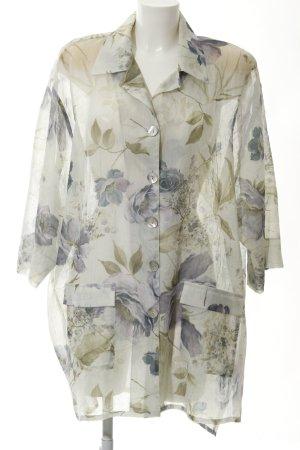 Long-Bluse florales Muster Transparenz-Optik