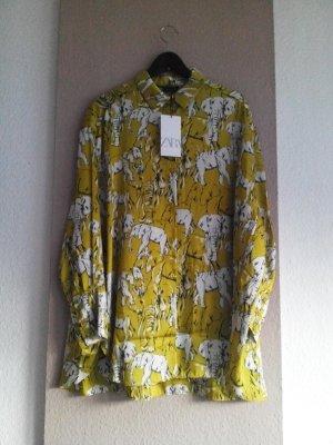 Long-Bluse in limettengelb mit Elefanten, Größe S super-oversize, neu