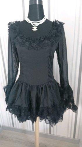 Vestido camisero negro tejido mezclado