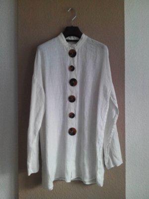 Long-Bluse mit Knöpfe in 100% Leinen, Größe 38 neu