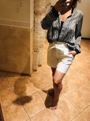 Long Bluse / Oversized / Schwarz-weiß / Steinchen /