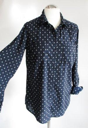 Long Bluse Pimkie Größe M 38 / 40 Maritim Anker Blau Weiß Langarm Sailor Hemd