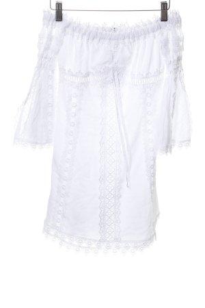 Long-Bluse weiß Spitzenbesatz