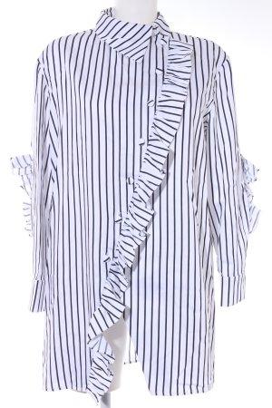 Long-Bluse weiß-schwarz Streifenmuster Elegant