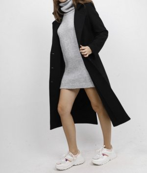 100% Fashion Wool Coat black