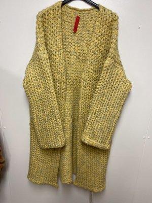 N. F New Fashion Abrigo de punto amarillo-marrón arena
