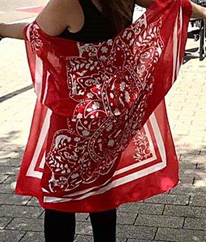 Kimono bianco-rosso Poliestere