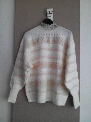 Long-Oversize Pullover mit Applikation von Spitzen, Grösse S, neu