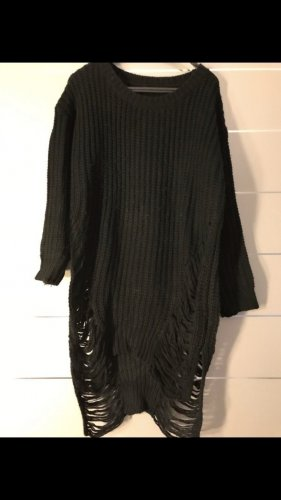 Long Pullover im used Look Schwarz Gr. XS/S