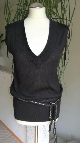 Amisu Długi sweter bez rękawów czarny Tkanina z mieszanych włókien