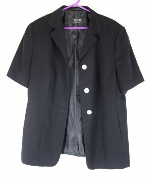 Long Sommer Blazer Jacke Taifun Größe XL 44 Schwarz Kurzarm Streifen Perlmutt Longblazer Business