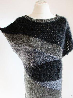 Long Strick Pullunder Liberty Woman Größe L 40 42 Pulli Pullover Strickpullover 80er Schwarz Grau Silberfarben meliert Retro flauschig