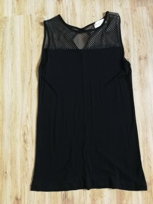 Poolgirl Top sin hombros negro-color plata