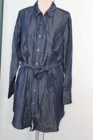 Long Tunika Kleid Jeans Optik Gr. 50 mit Gürtel dunkelblau neu A-Linie