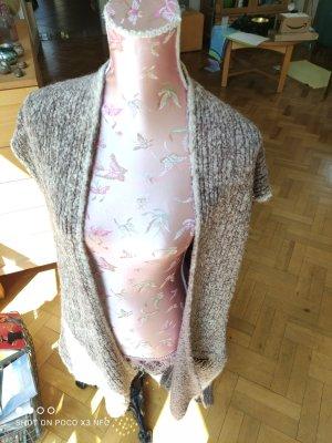 Frog Box Gilet long tricoté blanc cassé-gris laine alpaga