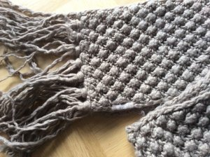 Barts Knitted Scarf grey brown-oatmeal wool