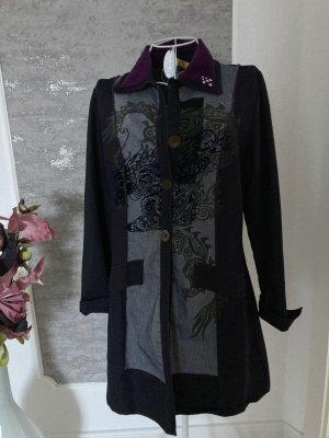 Biba Long Blazer brown violet-dark blue cotton