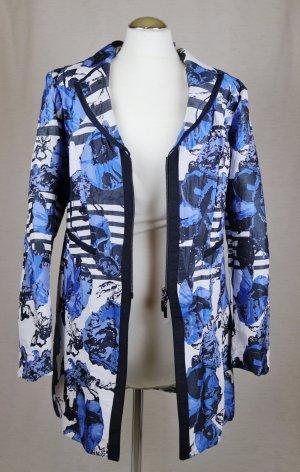 Longblazer Blazer Jacke Biba Größe 40 Blau Weiß Blumen Streifen Übergangsjacke Muster Crush Struktur