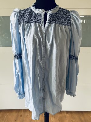 Zara Blusa larga azul celeste-negro