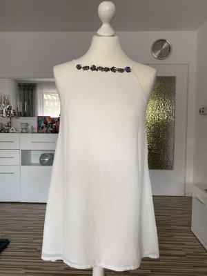 longbluse / chiffonbluse in weiß mit dunkelgrauen pailletten