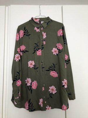 H&M Divided Long Blouse khaki-pink viscose