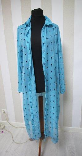 Lange blouse zwart-lichtblauw